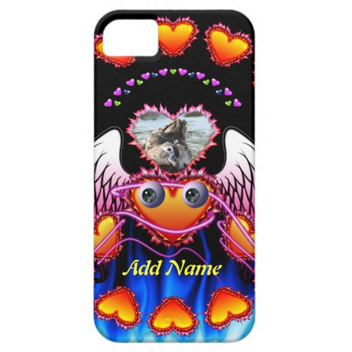 Hearts Trio with eyes in fire and angel wings iPhone 5 Cases