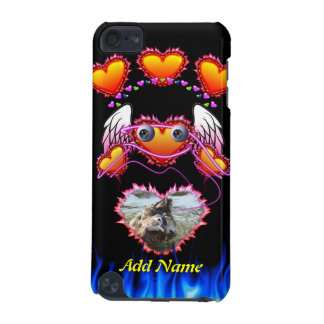 Hearts Trio with eyes in fire and angel wings iPod Touch (5th Generation) Cases