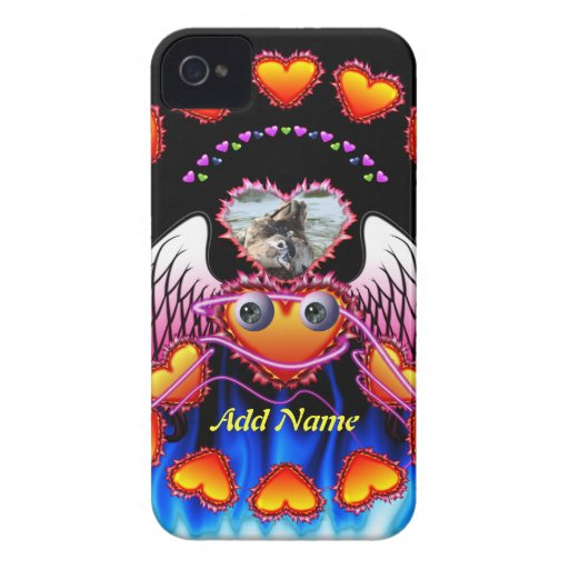 Hearts Trio with eyes in fire and angel wings iPhone 4 Covers
