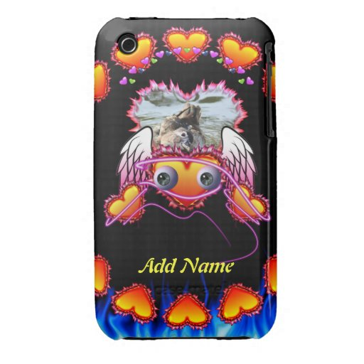 Hearts Trio with eyes in fire and angel wings iPhone 3 Case