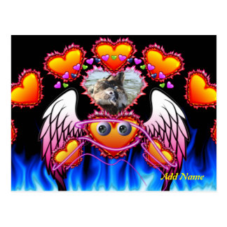 Hearts Trio with eyes in fire and angel wings Postcard