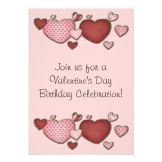 Hearts Valentine s Day Birthday Invite for Girls