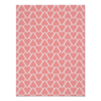 Hearts Valentine's Day Background Coral Pink Poster