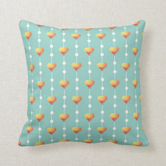 Hearts Watercolor Pattern with Dots Teal Blue Throw Pillow