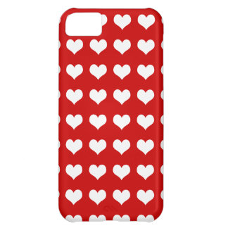 Hearts white on red iPhone 5C cover