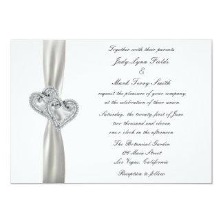 Hearts White Wedding Invitation