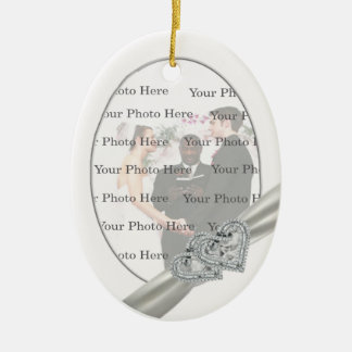 Hearts White Wedding Oval Ornament