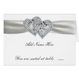 Hearts White Wedding Place Cards Note Card