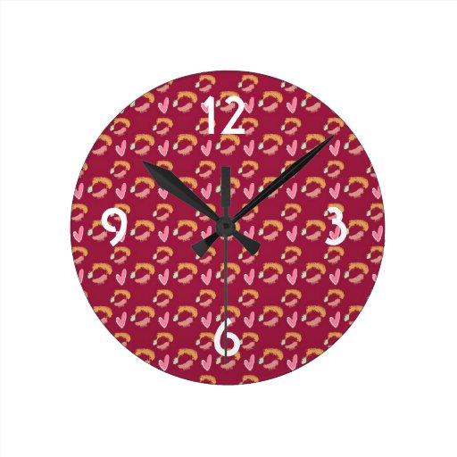 Hearts with grungy swirls pattern. round clocks