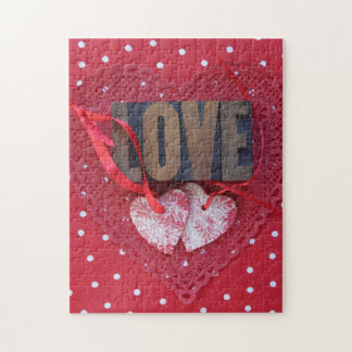 Hearts with love and polka dots jigsaw puzzle