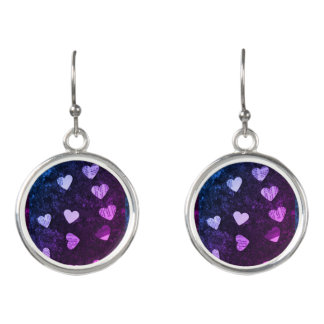 Hearts with purple earrings