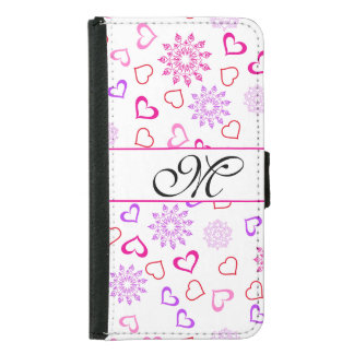 Hearts with Snowflakes with Custom Monogram Samsung Galaxy S5 Wallet Case