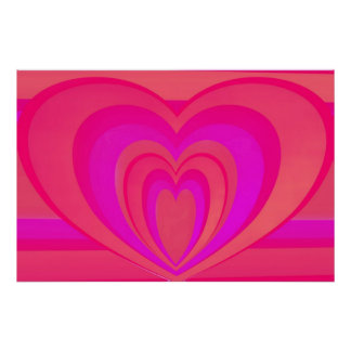 Hearts Within Heart On Stripes Pink Poster