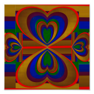 Hearts Within Heart On Stripes, Print
