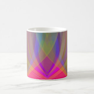 Hearts Within Heart On Stripes- Rainbow on Pink Coffee Mugs