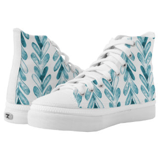 Heartstrings Blue Watercolor Chevrons Pattern Printed Shoes