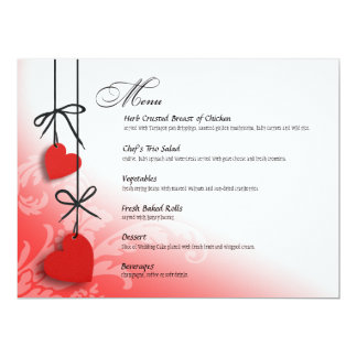 Heartstrings Dinner Menu red Card