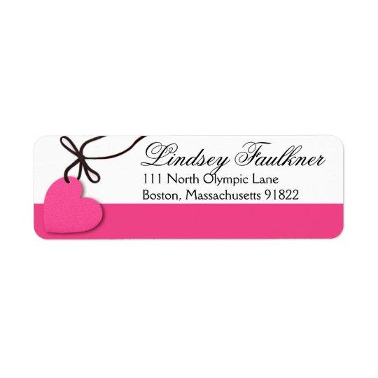 Heartstrings hot pink return address label