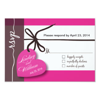 Heartstrings RSVP 1 Response fuschia 9 Cm X 13 Cm Invitation Card