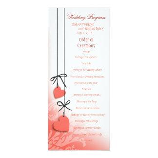 Heartstrings Wedding Program peach Personalized Invites