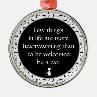 Heartwarming Cat Lovers Quote in Black and White Christmas Ornament