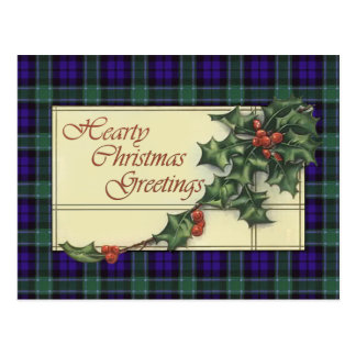 Hearty Christmas Greetings, Graham Tartan Postcard