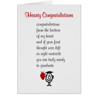 Hearty Congratulations - a funny Med Sch grad poem Card