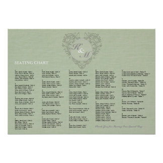 HeartyChic Sage Green Damask Heart Poster