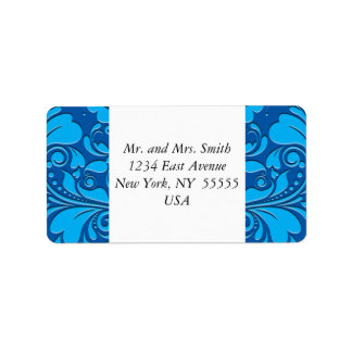 HeartyParty Cobalt Blue And Turquoise Damask Heart Address Label