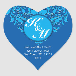 HeartyParty Cobalt Blue And Turquoise Damask Heart Heart Sticker