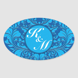HeartyParty Cobalt Blue And Turquoise Damask Heart Oval Sticker