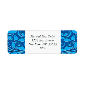 HeartyParty Cobalt Blue And Turquoise Damask Heart Return Address Label
