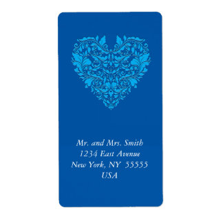 HeartyParty Cobalt Blue And Turquoise Damask Heart Shipping Label