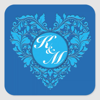 HeartyParty Cobalt Blue And Turquoise Damask Heart Square Sticker