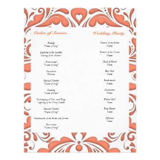 HeartyParty Coral And White Damask Heart 21.5 Cm X 28 Cm Flyer