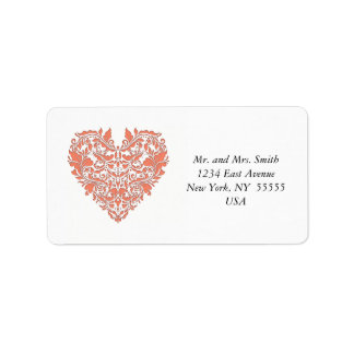 HeartyParty Coral And White Damask Heart Address Label