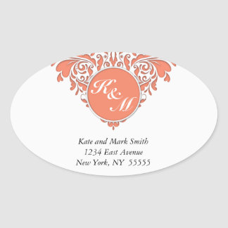 HeartyParty Coral And White Damask Heart Oval Sticker