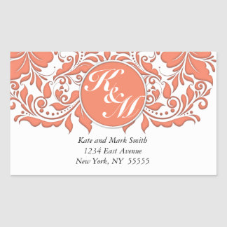 HeartyParty Coral And White Damask Heart Rectangular Sticker