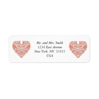 HeartyParty Coral And White Damask Heart Return Address Label
