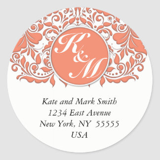 HeartyParty Coral And White Damask Heart Round Sticker