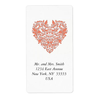 HeartyParty Coral And White Damask Heart Shipping Label