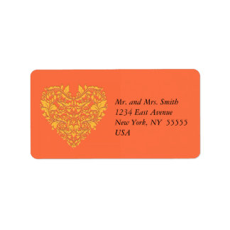 HeartyParty Orange and Yellow Damask Heart Address Label