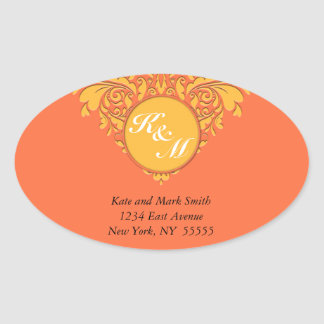 HeartyParty Orange and Yellow Damask Heart Oval Sticker
