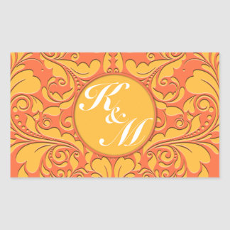HeartyParty Orange and Yellow Damask Heart Rectangular Sticker