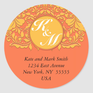 HeartyParty Orange and Yellow Damask Heart Round Sticker