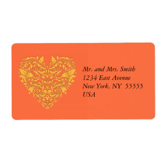 HeartyParty Orange and Yellow Damask Heart Shipping Label