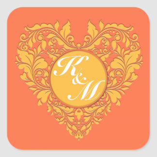 HeartyParty Orange and Yellow Damask Heart Square Sticker