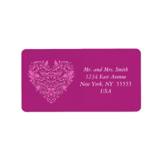 HeartyParty Pink And Cherry Damask Heart Address Label