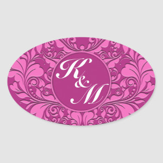 HeartyParty Pink And Cherry Damask Heart Oval Sticker