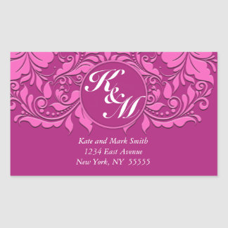 HeartyParty Pink And Cherry Damask Heart Rectangular Sticker